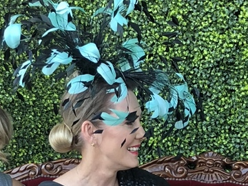 For Rent: Black and aqua Feather headband