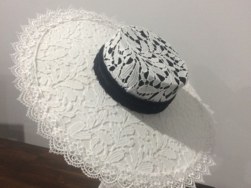 For Rent: Black and white boater hat lace