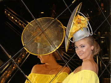 For Sale: Silver and Yellow Millinery