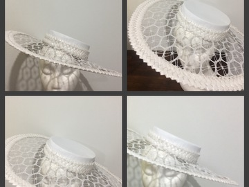 For Rent: White leather boater hat