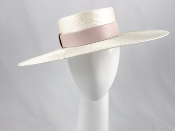 For Sale: Cream Wide Brimmed Straw Boater with Blush Pink Leather Band