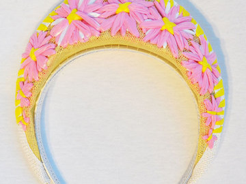 For Sale: Yellow and Pink Embroidered Crown