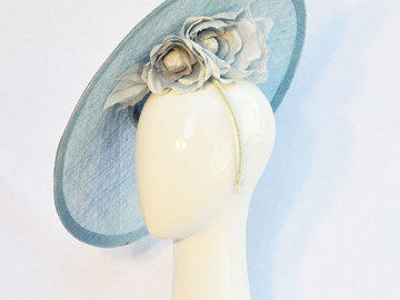 For Sale: Light Blue coolie hat with handmade silk flowers