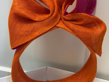 For Rent: Orange and pink Headpiece by Kim Fletcher Millinery