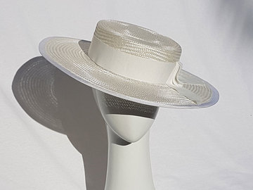 For Sale: Ivory straw boater hat