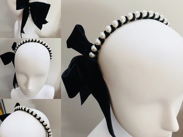 For Rent: Pearl and Black ribbon Headband